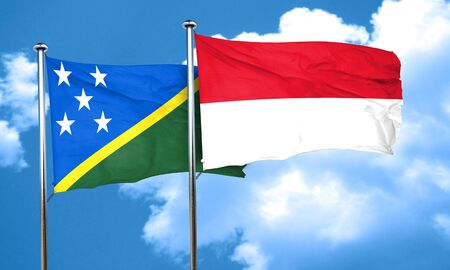solomon: Solomon islands flag with Indonesia flag, 3D rendering Stock Photo