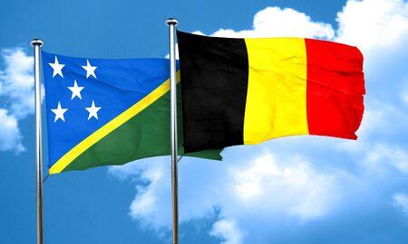 solomon: Solomon islands flag with Belgium flag, 3D rendering Stock Photo