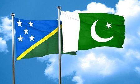 pakistani: Solomon islands flag with Pakistan flag, 3D rendering