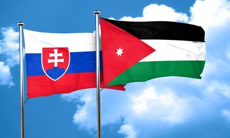 slovakia flag: Slovakia flag with Jordan flag, 3D rendering