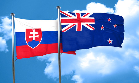 slovakia flag: Slovakia flag with New Zealand flag, 3D rendering Stock Photo