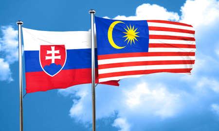 slovakia flag: Slovakia flag with Malaysia flag, 3D rendering