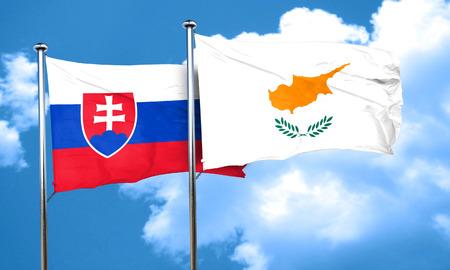 slovakia flag: Slovakia flag with Cyprus flag, 3D rendering