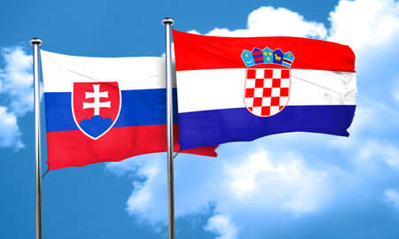 slovakia flag: Slovakia flag with Croatia flag, 3D rendering