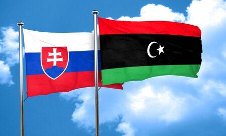 slovakia flag: Slovakia flag with Libya flag, 3D rendering Stock Photo