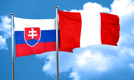 slovakia: Slovakia flag with Peru flag, 3D rendering