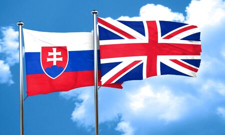 slovakia flag: Slovakia flag with Great Britain flag, 3D rendering