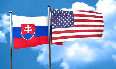 slovakia flag: Slovakia flag with American flag, 3D rendering Stock Photo