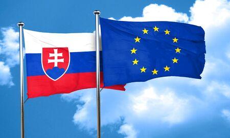 slovakia flag: Slovakia flag with european union flag, 3D rendering