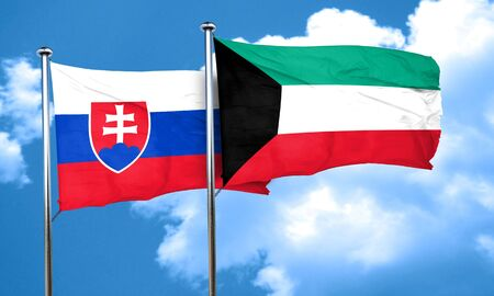 slovakia flag: Slovakia flag with Kuwait flag, 3D rendering