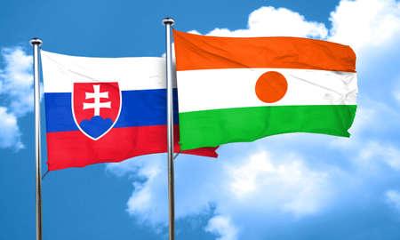 slovakia flag: Slovakia flag with Niger flag, 3D rendering