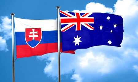 slovakia flag: Slovakia flag with Australia flag, 3D rendering