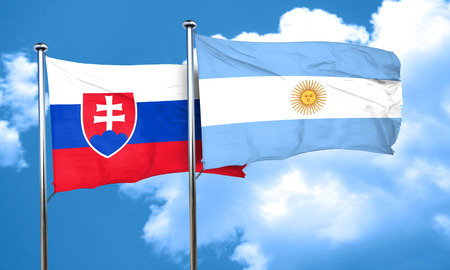 argentine: Slovakia flag with Argentine flag, 3D rendering