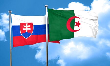 slovakia flag: Slovakia flag with Algeria flag, 3D rendering