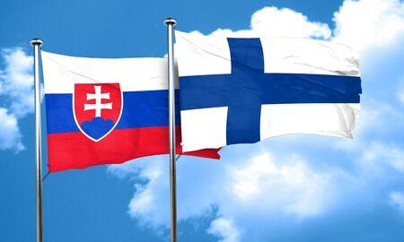 slovakia flag: Slovakia flag with Finland flag, 3D rendering