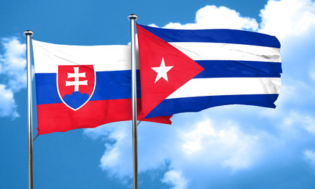 slovakia flag: Slovakia flag with cuba flag, 3D rendering