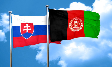 afghanistan flag: Slovakia flag with afghanistan flag, 3D rendering Stock Photo