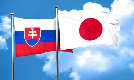slovakia flag: Slovakia flag with Japan flag, 3D rendering Stock Photo