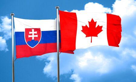 slovakia flag: Slovakia flag with Canada flag, 3D rendering