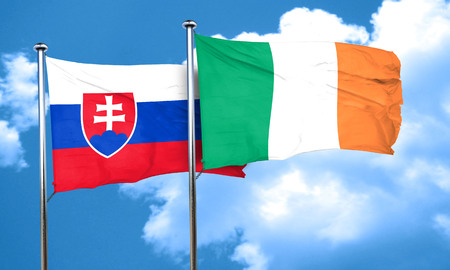 bandera irlanda: Slovakia flag with Ireland flag, 3D rendering Foto de archivo