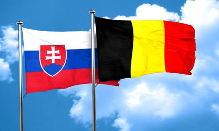 slovakia flag: Slovakia flag with Belgium flag, 3D rendering