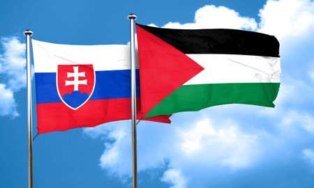 slovakia flag: Slovakia flag with Palestine flag, 3D rendering
