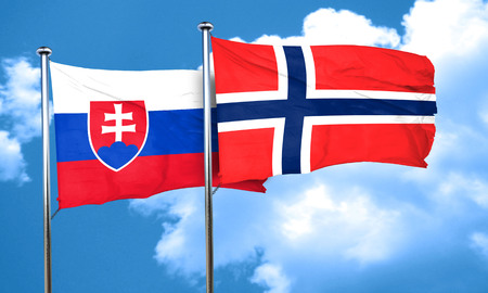 norway flag: Slovakia flag with Norway flag, 3D rendering