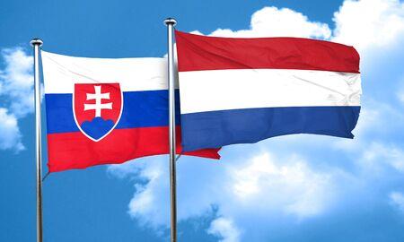 netherlands flag: Slovakia flag with Netherlands flag, 3D rendering