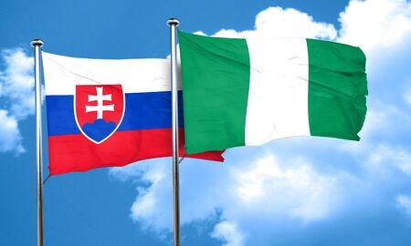 slovakia flag: Slovakia flag with Nigeria flag, 3D rendering Stock Photo
