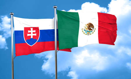 slovakia flag: Slovakia flag with Mexico flag, 3D rendering Stock Photo