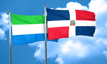 dominican: Sierra Leone flag with Dominican Republic flag, 3D rendering
