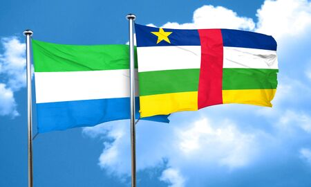 leone: Sierra Leone flag with Central African Republic flag, 3D rendering