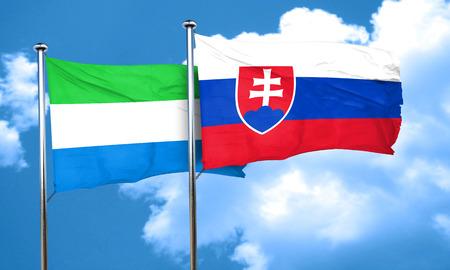 leone: Sierra Leone flag with Slovakia flag, 3D rendering