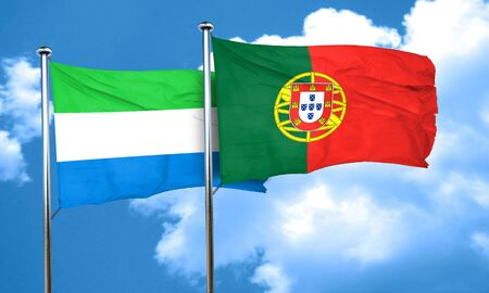 leone: Sierra Leone flag with Portugal flag, 3D rendering