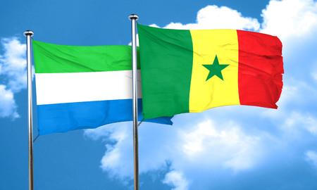 sierra: Sierra Leone flag with Senegal flag, 3D rendering