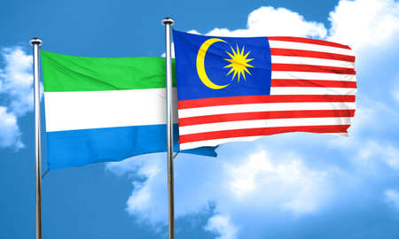 leone: Sierra Leone flag with Malaysia flag, 3D rendering Stock Photo
