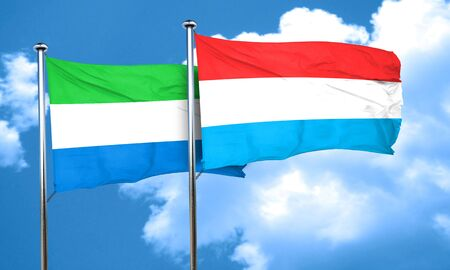 sierra: Sierra Leone flag with Luxembourg flag, 3D rendering