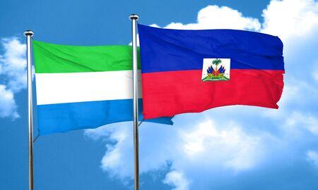 sierra: Sierra Leone flag with Haiti flag, 3D rendering