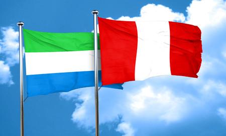 bandera de peru: bandera de Sierra Leona con la bandera de Perú, 3D