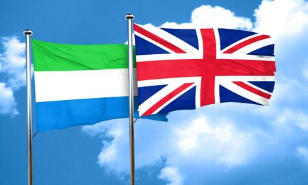 great britain flag: Sierra Leone flag with Great Britain flag, 3D rendering