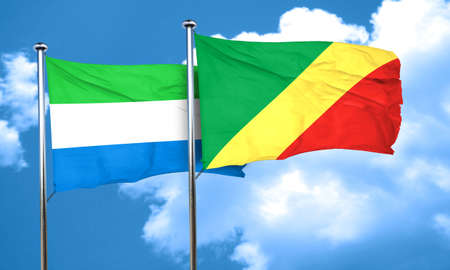 leone: Sierra Leone flag with congo flag, 3D rendering Stock Photo
