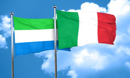 italian politics: Sierra Leone flag with Italy flag, 3D rendering
