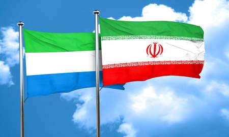 leone: Sierra Leone flag with Iran flag, 3D rendering