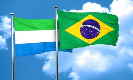 leone: Sierra Leone flag with Brazil flag, 3D rendering Stock Photo