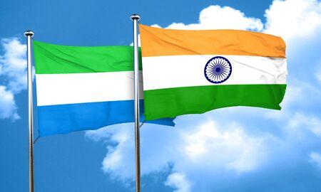 leone: Sierra Leone flag with India flag, 3D rendering