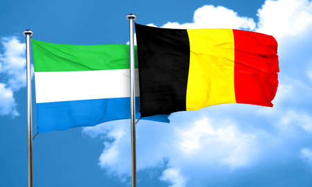 leone: Sierra Leone flag with Belgium flag, 3D rendering Stock Photo