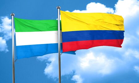 bandera de colombia: Sierra Leone flag with Colombia flag, 3D rendering