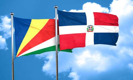 dominican: seychelles flag with Dominican Republic flag, 3D rendering