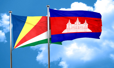 cambodian flag: seychelles flag with Cambodia flag, 3D rendering Stock Photo