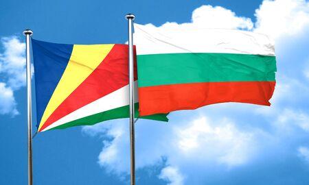 seychelles: seychelles flag with Bulgaria flag, 3D rendering